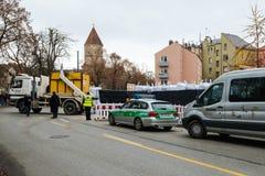一颗WW2炸弹的处置在奥格斯堡,德国 免版税库存照片