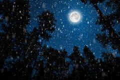 一飞行goth圣诞老人的剪影以夜空为背景的 库存图片
