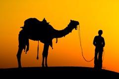 一头人和骆驼在日落,印度的剪影。 免版税库存图片