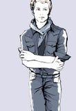 一件便服的年轻英俊的人 免版税库存图片