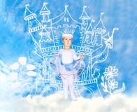 一件公主礼服的小女孩在一座被生动描述的城堡前面 库存照片