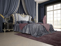 一间经典样式卧室的内部豪华的 库存照片