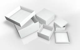 一系列的纸板箱3d例证 免版税库存照片
