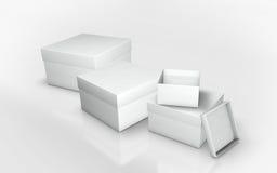一系列的纸板箱3d例证 库存照片