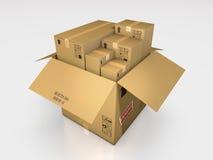 一系列的纸板箱3d例证 库存图片