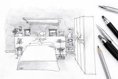 一间卧室的内部剪影有铅笔的在纸 免版税库存图片