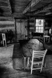 一间历史的客舱的内部在天空草甸国家公园, VA 库存图片