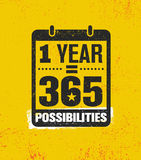 一年均等365可能性 富启示性的创造性的刺激行情海报模板 传染媒介印刷术横幅 向量例证