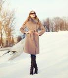 戴一件外套和太阳镜的美丽的典雅的少妇在冬天 免版税库存照片