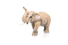 一头大象的缩样在白色背景的 库存照片