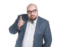一件夹克的人有一个被举的手指的 免版税库存图片
