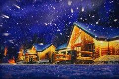 一间客舱的冬天场面与雪的 库存照片