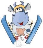 一头小的母牛 动画片 库存照片