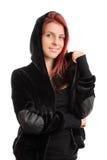 一件戴头巾运动衫的女孩 库存照片