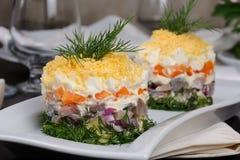 一份庆祝的菜单的开胃菜 免版税库存图片