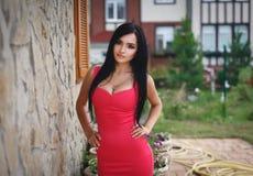 一件性感的桃红色礼服的美丽的女孩 免版税库存照片