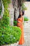 一件明亮的礼服的被晒黑的怀孕的女孩游人在热带藤本植物和村庄的老石大厦附近 免版税库存图片