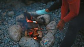 一件桃红色女衬衫的愉快的少妇烹调在火和微笑的香肠 股票录像