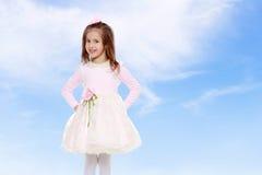 一件桃红色礼服的典雅的小女孩 库存图片