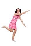 一件桃红色礼服的减速火箭的女孩 免版税库存照片