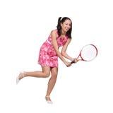 一件桃红色礼服的减速火箭的女孩 图库摄影