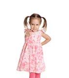 一件桃红色礼服的女孩 免版税图库摄影