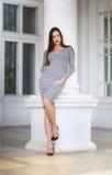 一件浅灰色的礼服的一名豪华妇女在一个白色专栏面前 俏丽的女孩摆在得户外 礼服的夫人和 免版税库存照片