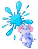 一头灰色大象和一块空的蓝色模板 免版税库存图片