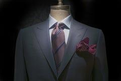 有白色&蓝色方格的衬衣、镶边的领带和M的灰色夹克 库存照片
