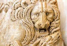 一头狮子的古色古香的浅浮雕在Capitoline博物馆,罗马 库存照片