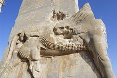 一头狮子的浅浮雕在波斯波利斯的国家门的在设拉子,伊朗 免版税库存图片