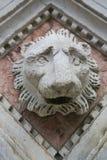 一头狮子的雕塑在锡耶纳,托斯卡纳,意大利洗礼池的  免版税库存图片