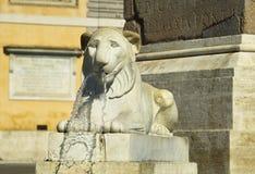 一头狮子的雕象从一个喷泉的在Poppolo广场 库存图片