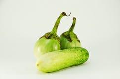 一黄瓜和两茄子 图库摄影
