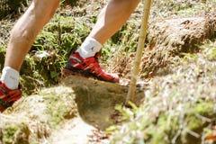 一年轻男性收养的脚用在远足期间的一根远足的棍子由在泥的山决定 免版税库存照片