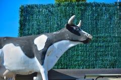 一头黑白母牛的雕象 免版税库存照片