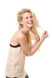 一年轻白肤金发妇女笑的画象 免版税库存照片