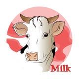 一头白色母牛(牛奶)的传染媒介例证 免版税库存照片