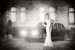 一件白色礼服的一个少妇在luxorious背景 免版税库存照片