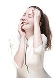 一件白色礼服的笑的女孩 免版税库存照片