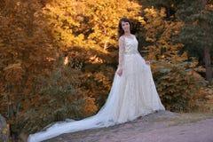 一件白色礼服礼服的美丽的妇女在秋天 图库摄影