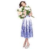 一件礼服的妇女有样式gzhel的 免版税图库摄影