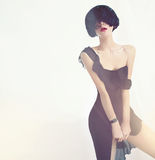 一件黑礼服的肉欲的夫人 库存图片