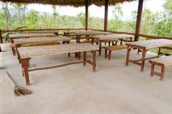 一间空的教室在一所农村葡萄酒学校 免版税库存照片