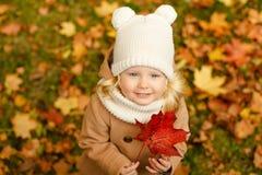 一件米黄外套的小俏丽的女孩微笑在秋天公园,关闭的 免版税库存照片