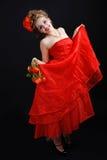 的女孩红色dres 免版税库存照片