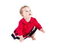 一件红色礼服的学会甜矮小的女婴爬行 免版税库存图片