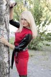 一件红色礼服的金发碧眼的女人拿着在秋天的一棵树 图库摄影