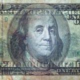 一100美元的宏观射击 透明票据 库存照片