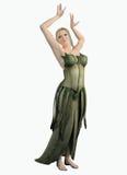 一件绿色叶子礼服的矮子妇女 库存照片